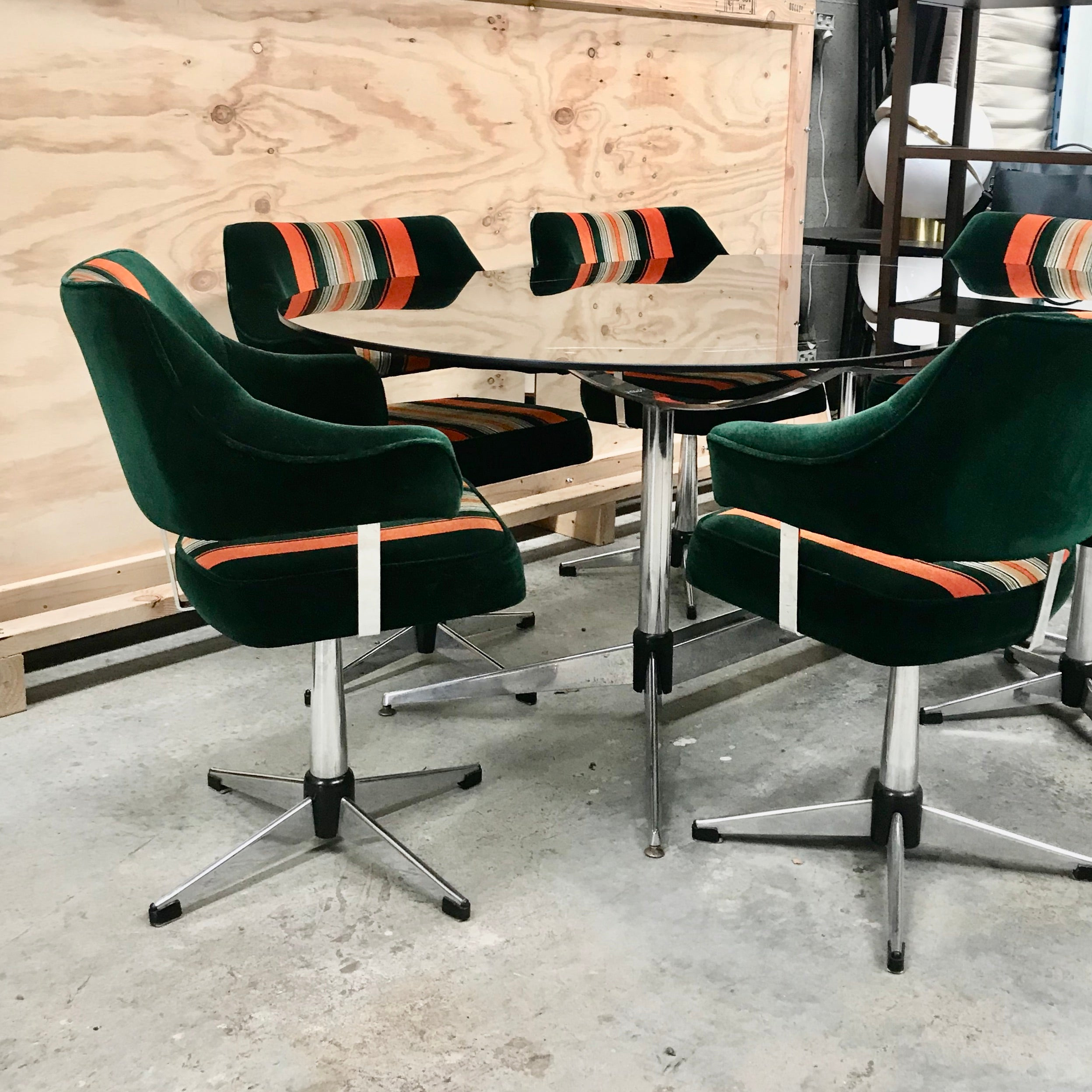 Set of SIX Vintage 60's Swivel Dining Chairs by Ultra