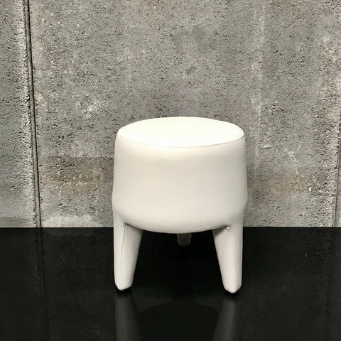 White Leather Tri Leg Stool
