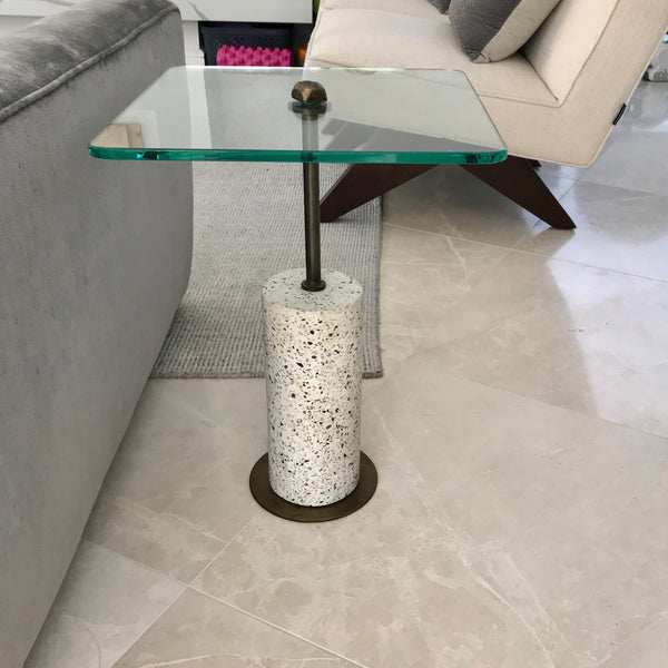 Side Table with Terrazzo Base & Glass Top by Coco Republic