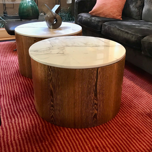 Custom Drum Table with Calacatta Marble Top (2 available)