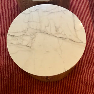 Custom Drum Table with Calacatta Marble Top
