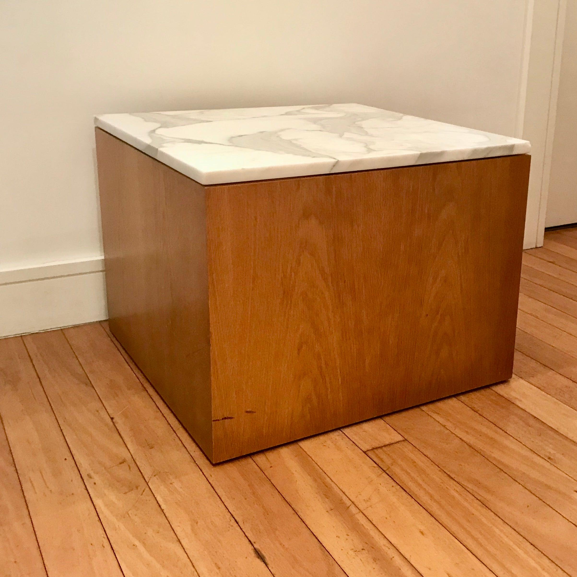Custom Square Table with Calacatta Marble Top