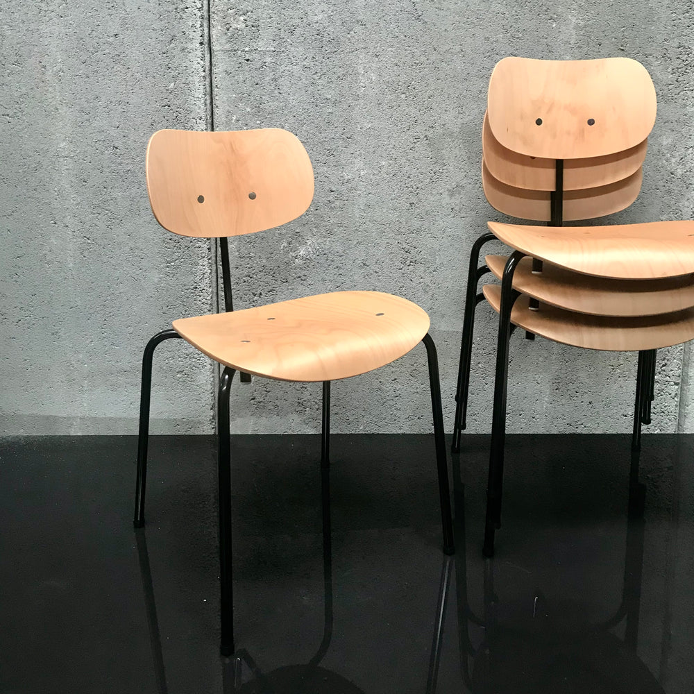 Set of FOUR SE 68 Multi-Purpose Chair by Wilde + Spieth with Black Base & Natural Seat