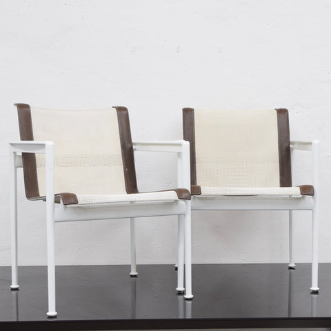 Set of Four 1966 Collection Dining Chairs by Richard Schultz for B&B Italia (White with Brown Tape)