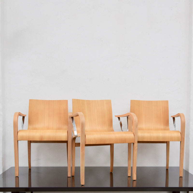Set of FOUR Molded Plywood Chairs through Space