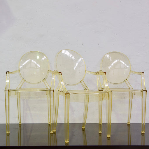 Set of FOUR Louis Ghost – Transparent Straw Yellow by Kartell