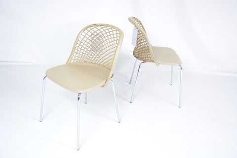 PAIR of Zoe ZE01 Chairs by designer Franco Poli for Matteo Grassi