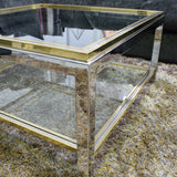 Coffee Table by Willy Rizzo c1980's  Two Tier Brass and Chrome