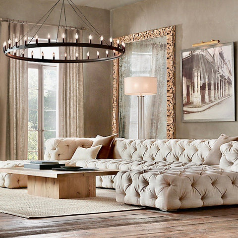 Soho Tufted U-Chaise Sectional with Ottoman by Restoration Hardware