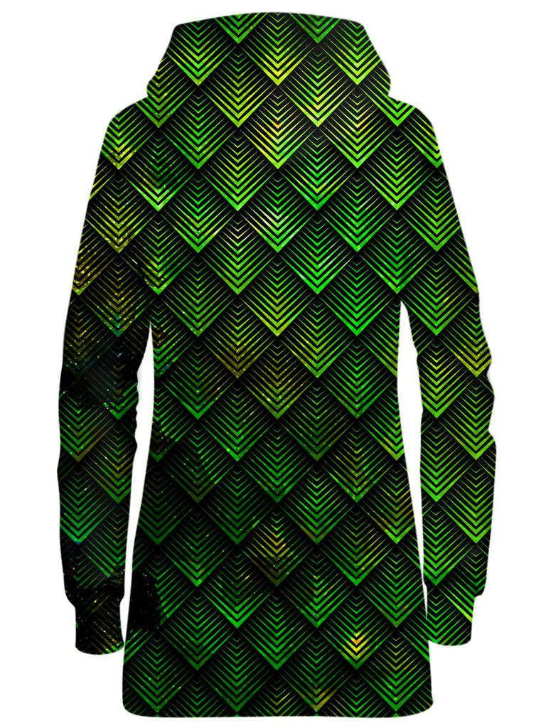 Galactic Dragon Scale Green Hoodie Dress, Noctum X Truth, T6 - Epic Hoodie