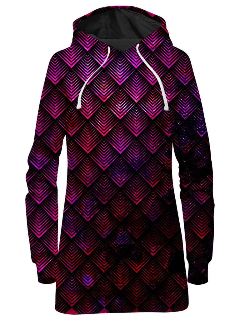 Galactic Dragon Scale Pink Hoodie Dress, Noctum X Truth, T6 - Epic Hoodie
