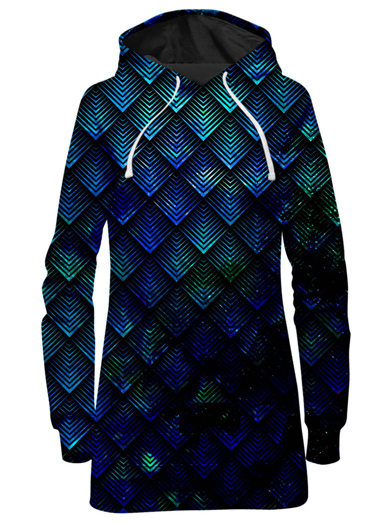 Galactic Dragon Scale Teal Hoodie Dress, Noctum X Truth, T6 - Epic Hoodie