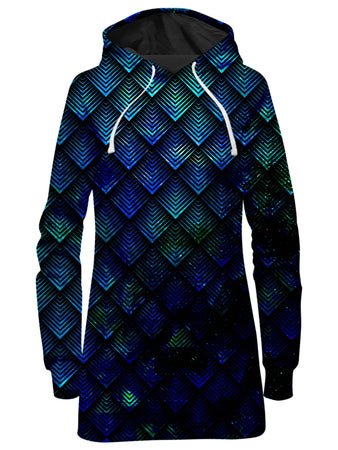 Noctum X Truth - Galactic Dragon Scale Teal Hoodie Dress