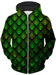 Galactic Dragon Scale Green Unisex Zip-Up Hoodie, Noctum X Truth, T6 - Epic Hoodie