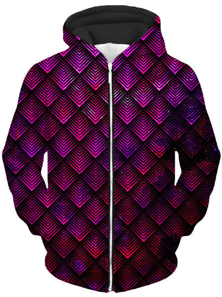 Noctum X Truth - Galactic Dragon Scale Pink Unisex Zip-Up Hoodie