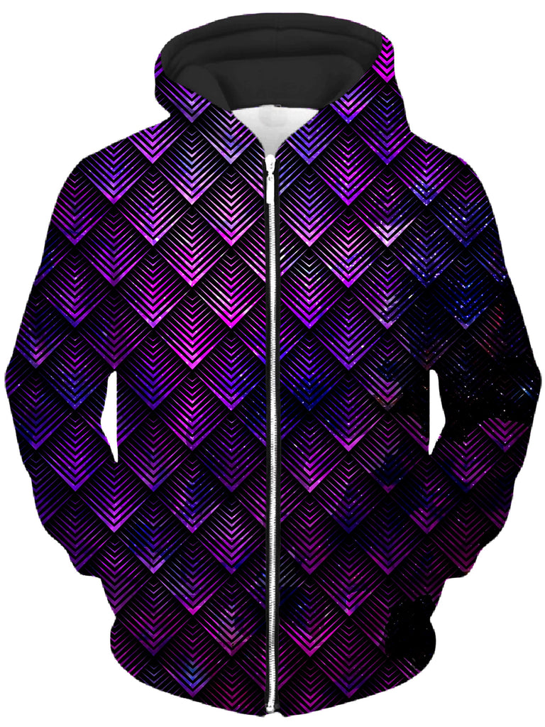 Noctum X Truth - Galactic Dragon Scale Purple Unisex Zip-Up Hoodie