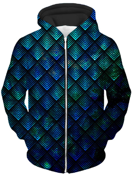 Noctum X Truth - Galactic Dragon Scale Teal Unisex Zip-Up Hoodie