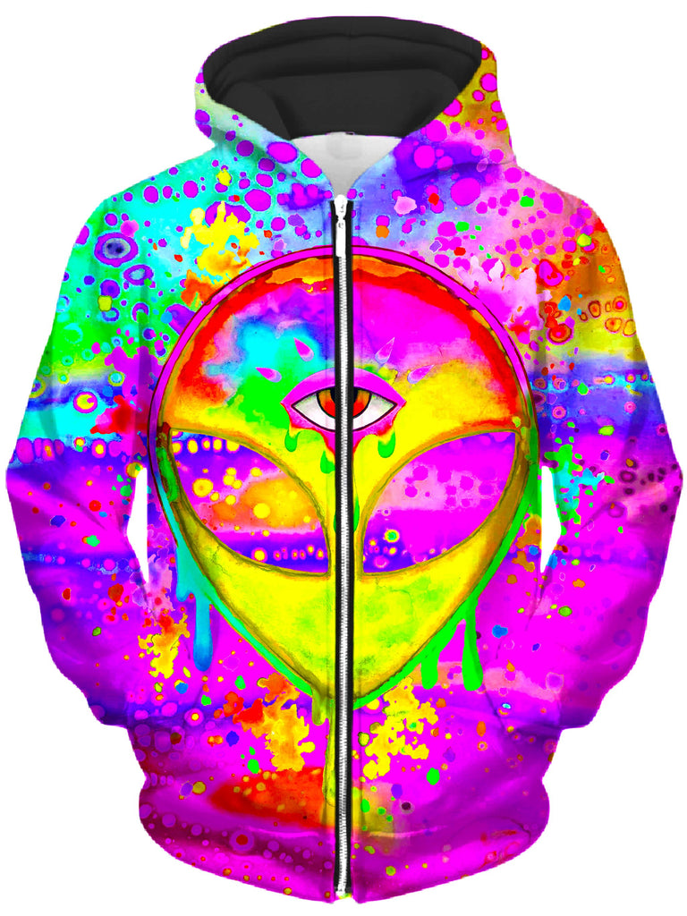 BrizBazaar - Alien Melt Yellow Unisex Zip-Up Hoodie
