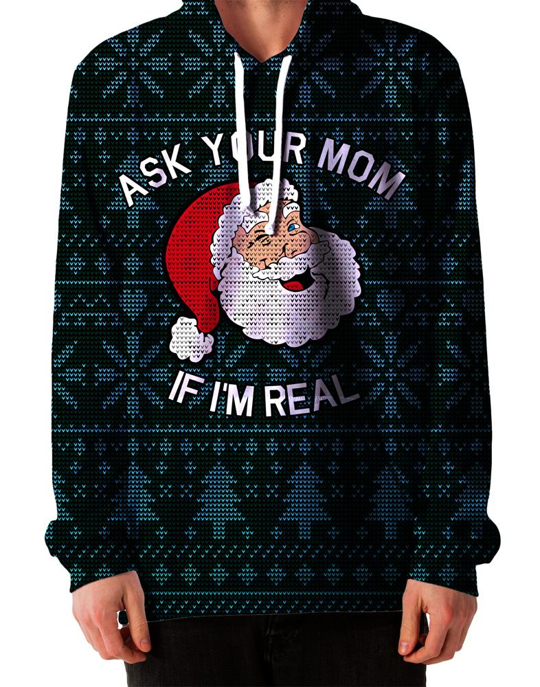 Ask Your Mom Ugly Christmas Hoodie, On Cue Apparel, T6 - Epic Hoodie