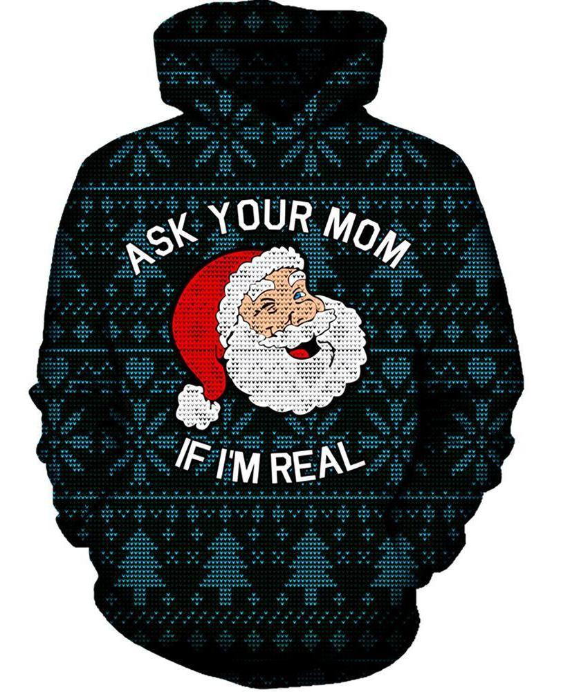 On Cue Apparel - Ask Your Mom Ugly Christmas Hoodie