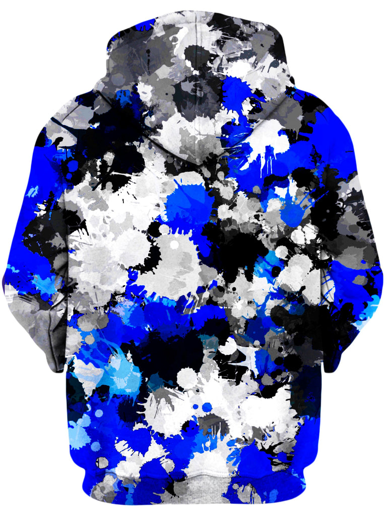Blue and Grey Paint Splatter Unisex Hoodie, Big Tex Funkadelic, T6 - Epic Hoodie