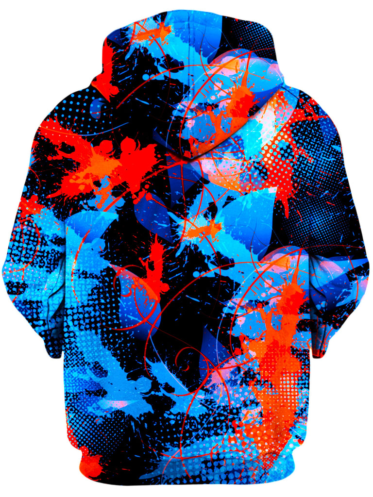 Blue and Orange Paint Splatter Unisex Hoodie, Big Tex Funkadelic, T6 - Epic Hoodie
