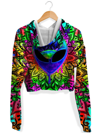 BrizBazaar - Psy Alien Purple Fleece Crop Hoodie