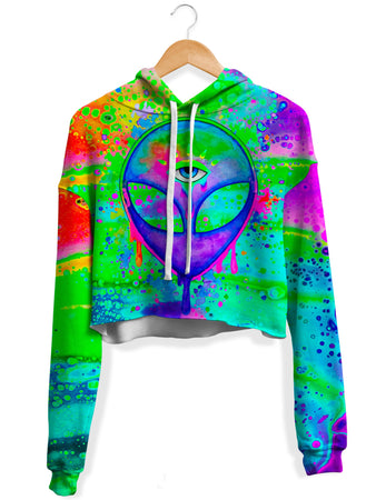 BrizBazaar - Alien Melt Purple Fleece Crop Hoodie