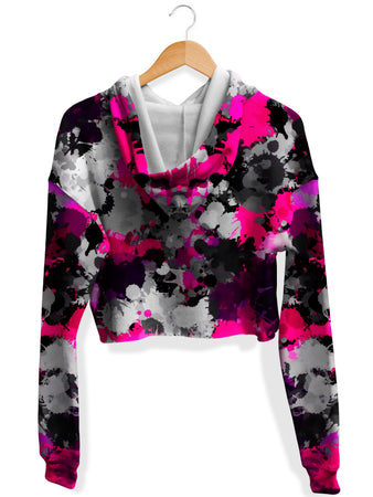 Big Tex Funkadelic - Pink and Grey Paint Splatter Fleece Crop Hoodie