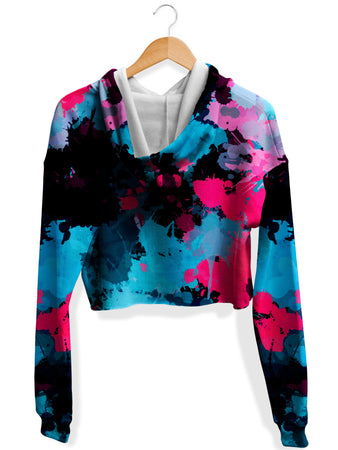 Big Tex Funkadelic - Pink and Blue Paint Splatter Fleece Crop Hoodie