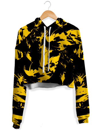 Big Tex Funkadelic - Black and Yellow Paint Splatter Crop Hoodie
