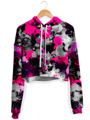 Pink and Grey Paint Splatter Crop Hoodie