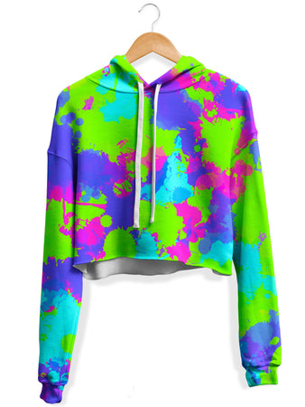 Big Tex Funkadelic - 90s Neon Paint Splatter Fleece Crop Hoodie