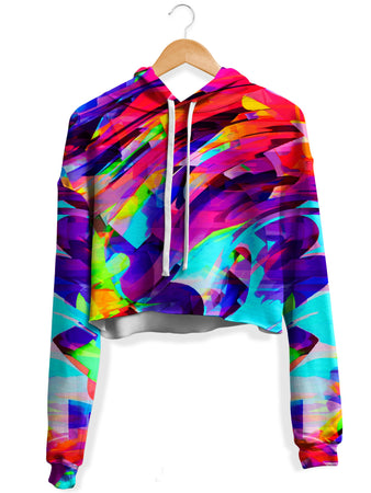 Big Tex Funkadelic - Rainbow Graffiti Explosion Fleece Crop Hoodie