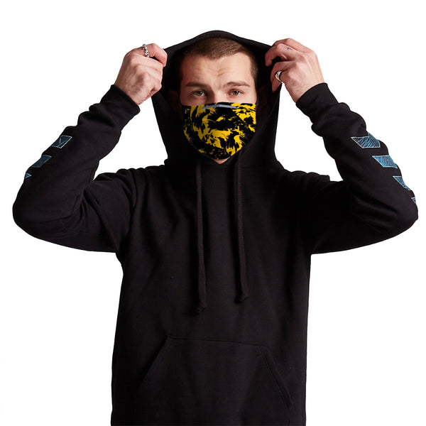 Germ Mask - Black and Yellow Paint Splatter Anti-Germ & Pollution Mask With (4) PM 2.5 Carbon Filters