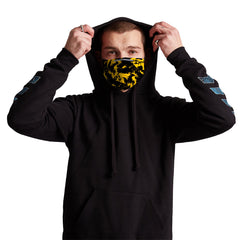 Black and Yellow Paint Splatter Anti-Germ & Pollution Mask With (4) PM 2.5 Carbon Filters, Germ Mask, Electric Styles - Epic Hoodie