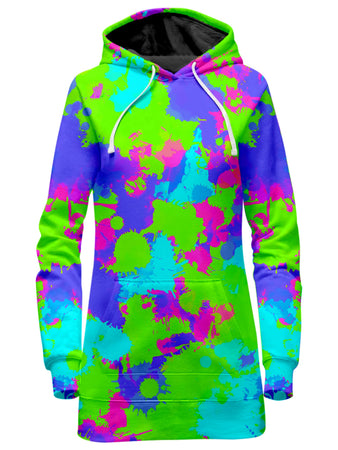 Big Tex Funkadelic - 90s Neon Paint Splatter Hoodie Dress