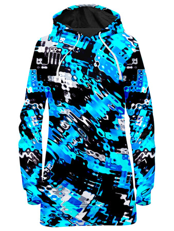Big Tex Funkadelic - Aqua Rave Hoodie Dress