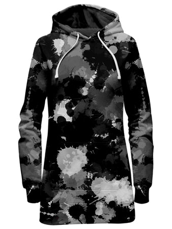 Big Tex Funkadelic - Black White and Grey Paint Splatter Hoodie Dress