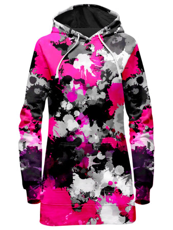 Big Tex Funkadelic - Pink and Grey Paint Splatter Hoodie Dress