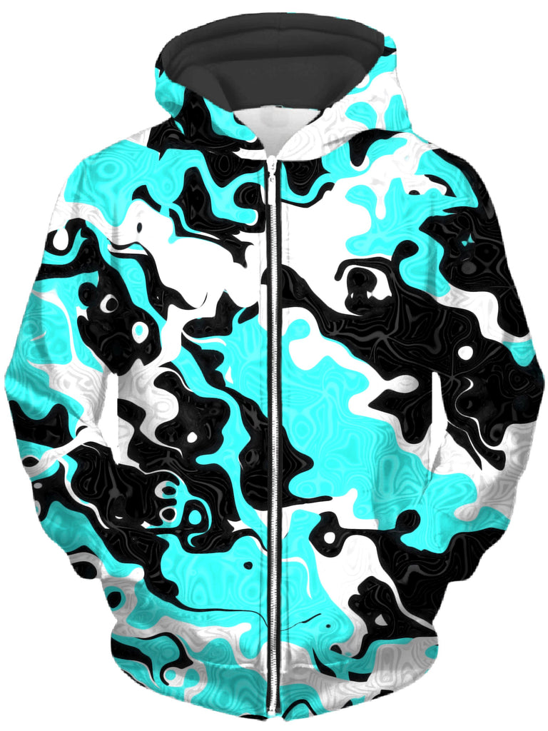 Big Tex Funkadelic - Oil Spill Rave Camo Unisex Zip-Up Hoodie