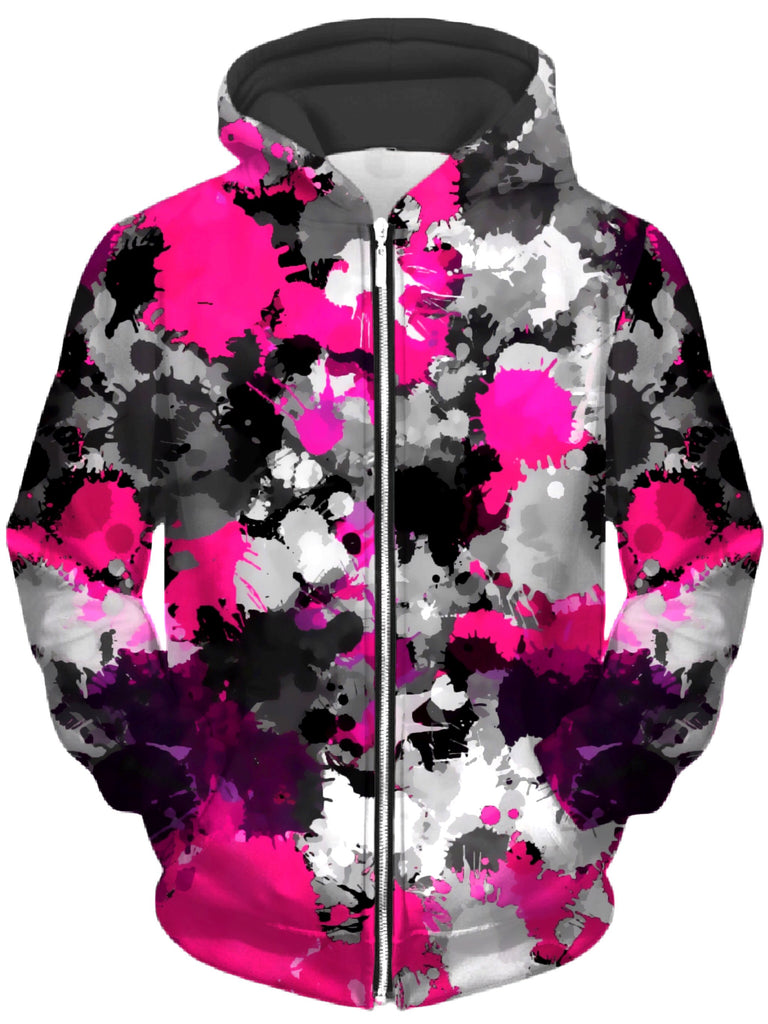 Big Tex Funkadelic - Pink and Grey Paint Splatter Unisex Zip-Up Hoodie
