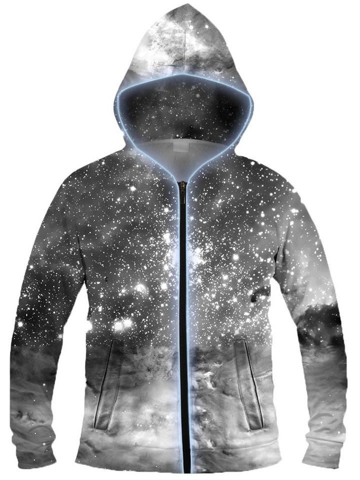 Black & White Cosmos Light-Up Hoodie, Light Up Hoodies, Electric Styles - Epic Hoodie