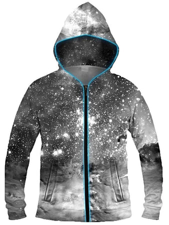 Light Up Hoodies - Black & White Cosmos Light-Up Hoodie