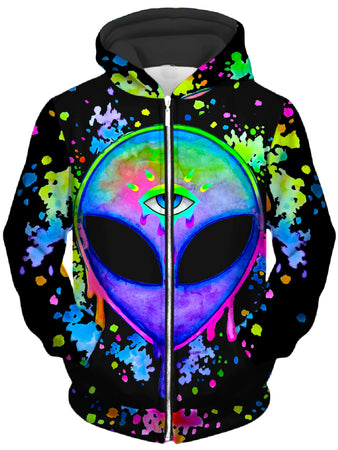 BrizBazaar - Splatter Alien Unisex Zip-Up Hoodie