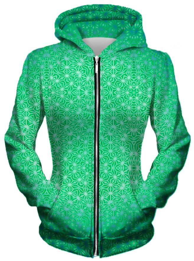 Green Cosmic Stargrid Unisex Zip-Up Hoodie, Different Type, Set 4 Lyfe - Epic Hoodie