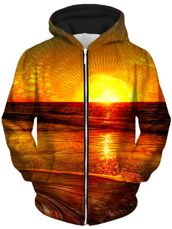 Lucid Eye Studios - Fractal Sunset Unisex Zip-Up Hoodie