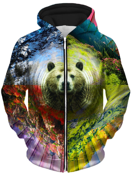 Lucid Eye Studios - PLUR Bear Unisex Zip-Up Hoodie
