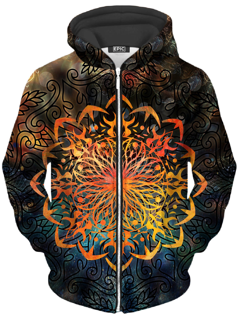Fire Ornament Unisex Zip-Up Hoodie, MCAshe Spiritual Art, T6 - Epic Hoodie