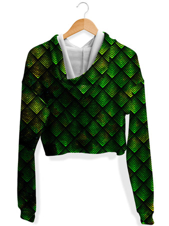 Noctum X Truth - Galactic Dragon Scale Green Crop Hoodie